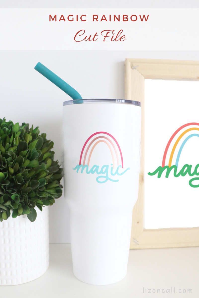 Magic Rainbow cut file on an insulated cup