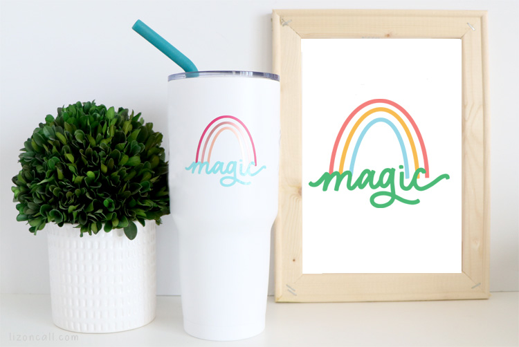 Magic rainbow vinyl design on a cup next to a canvas with the same design.