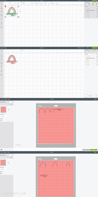 Screen shots of Cricut Design space cutting magic rainbow design
