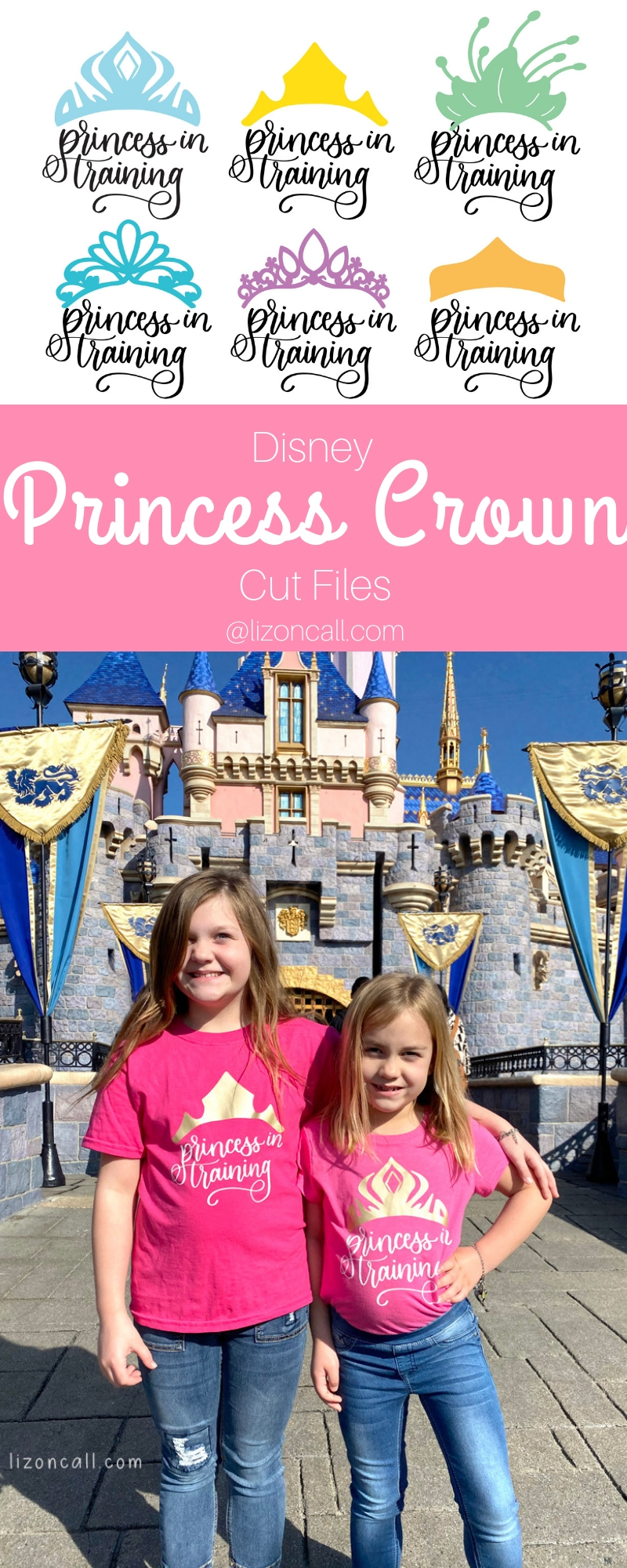 titled pinnable image with 2 girls wearing princess in training shirts in front of the castle