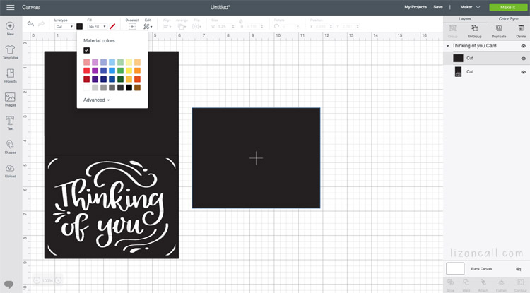 Cricut Design Space screen showing cut file
