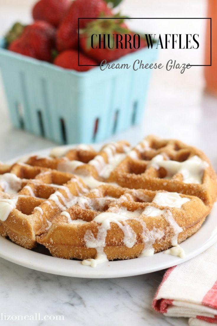 Churro Waffles with Cream Cheese Glaze