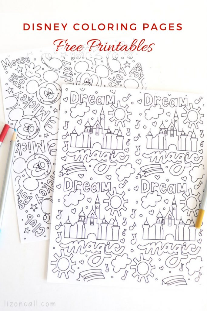 2 coloring pages with Disney inspired images
