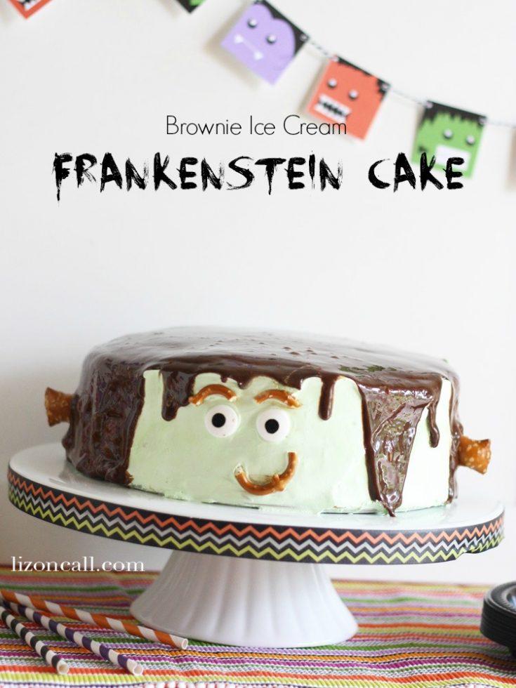 Brownie Ice Cream Frankenstein Cake