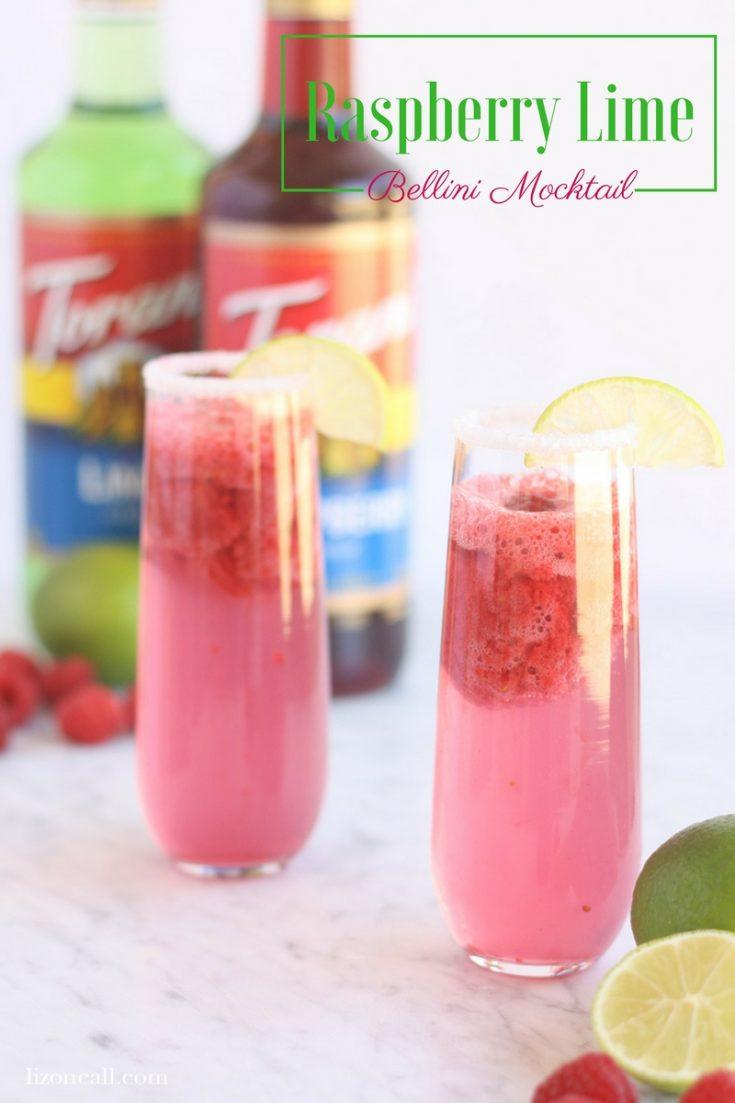 Frozen Raspberry Lime Bellini Mocktail