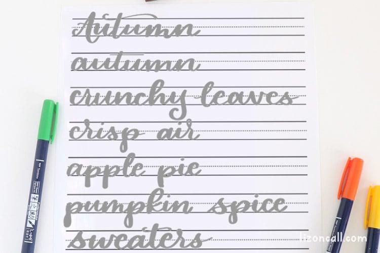 Autumn Hand Lettering practice sheet
