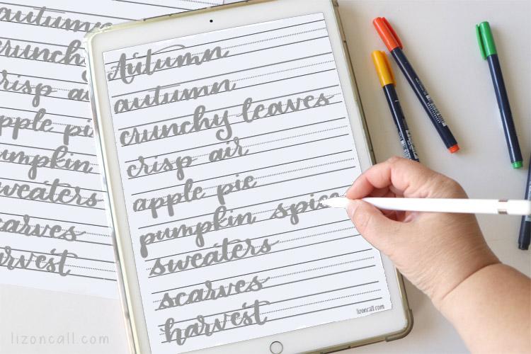 Autumn Hand Lettering practice sheet on the iPad
