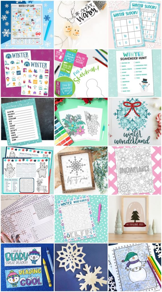 Winter Printables Collage
