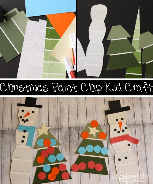 christmas paint chip kid craft liz on call. Black Bedroom Furniture Sets. Home Design Ideas